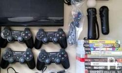Playstation 3 4 controllers Move and games