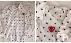 Embroidered white polo long sleeve Polka dots (black)