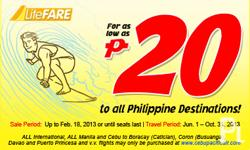 CEBU PACIFIC PROMO FARE @ PHP20 For as low as Php 20 to