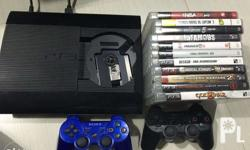 PS3 Super Slim (slightly used) BUNDLE 250GB, Charcoal