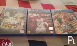 All games in great condition. NBA 2K17- 1500 Naruto