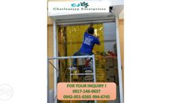 Services: Install pvc strip curtain Epoxy and