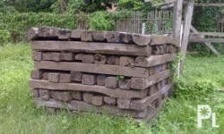 antique railroad ties used for furniture and/or garden