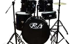 for Sale!! RJ Drum Set with Ride Cymbals (Black) Full