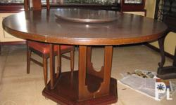 """Round dining table, 58"""" diameter with lazy susan, 24"""""""