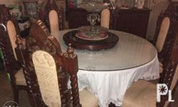 Round Table with chairs (6-seater) Color: off white