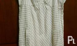 Roxy dress white with stripes 7/10 size 5 fit to med