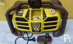 Unit charges 18 volts One+ battery. USB charger for