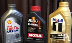 Shell ultra E and Motul and mobil 1 fully synthetic
