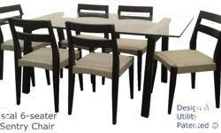 Pascal Dining Table: - 1/2-inch thick glass top -