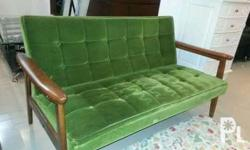 Green sofa chair 2-3 seater made in japan in good