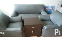 Sofa upholstered with side table narra wood(side table