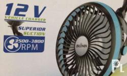 Solar Car Mini 12 volts Fan Portable 4 inch Electric