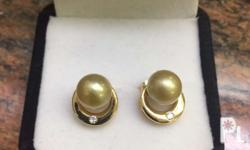 Genuine South Sea Pearl earrings on PLATED SETTING ONLY