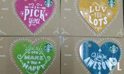 Starbucks valentines card 4pcs. No load. Pin intact.