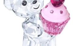 Kris Bear in clear crystal holds a Rose crystal cupcake