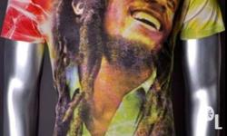 V neck T Shirt with Bob Marley prints and colors Size
