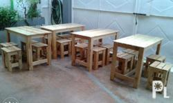 Custom made tables and stools. Made entirely of 100%