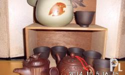 Terracotta teapot set from Japan: 1 pc carved dragon &