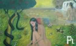 18x14 acrylic painting of the temptation of eve artis #