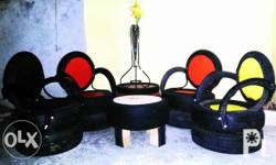 Tyre furniture set, made out of recycled rubber tyres.