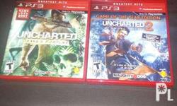 preloved PS3 games unchartered 1&2, almost new, in mint