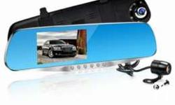 Dual lens front mirror and reverse mirror for car..