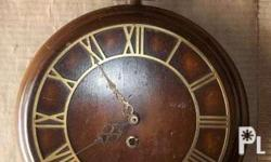 Vintage Antique Wood & Brass Wall Clock ..german