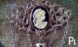 Vintage cameo pin Stainless steel Antique style