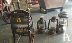 Set Sale Vintage Baesa Cast Iron Ice Shaver and Lamps