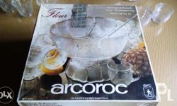 Punch bowl set 1 -ARCOROC brand, made in FRANCE -Fleur