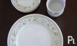 4 sets of plates, tea cups and saucers Very good