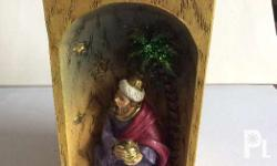Votive Jesus / Three Kings wooden candle holder. Brand