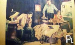A water color paint with a patient and a Doctor.