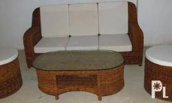 White wood Sala Set Couch Chair 2 Stools Table