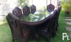 Selling my used BUT NOT ABUSED Wicker Dining Table Set