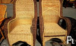 Wicker Rattan Rocking Chair with abaca on handle for