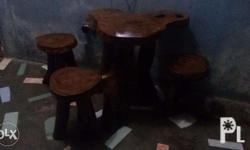 Coffee table set with 3 stools/chairs made of hard