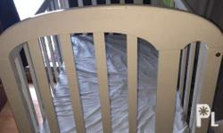 good condition slightly used.white wooden crib new
