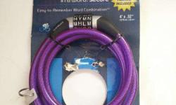 Wordlock CL-621-PU 4-Letter Combination Bike Lock Cable